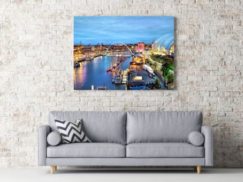 Newcastle upon Tyne 'Tyne at Night'  Canvas Print